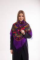 Платок шерстяной с бахромой (фиолетовый), фото 1