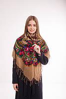 Платок шерстяной с бахромой (кофейный), фото 1