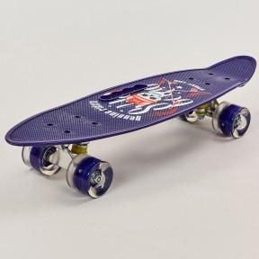 Скейтборд круїзер пластиковий PC дека з отвором і світяться колесами HB-31B-2
