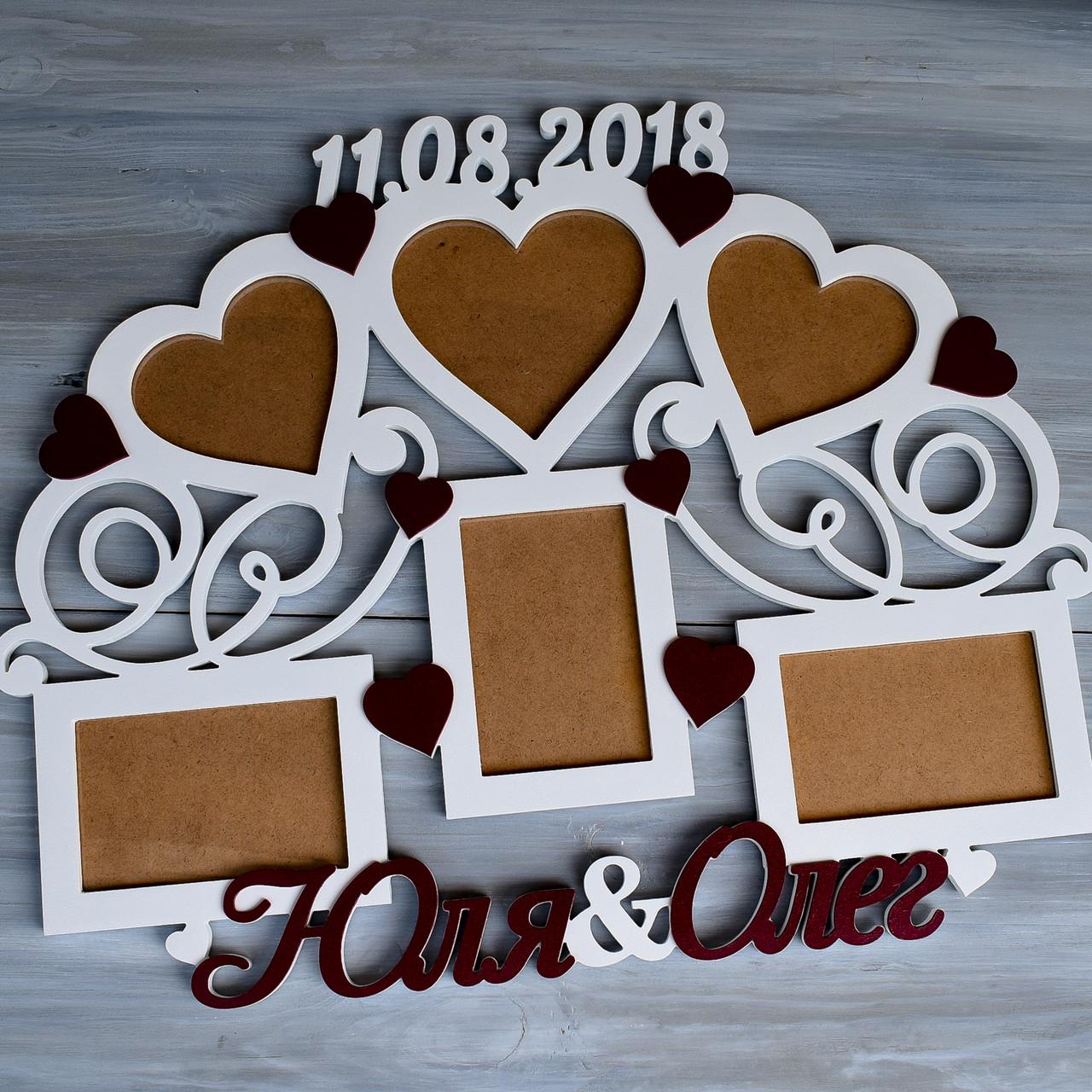 Свадебная фоторамка с именами и датой