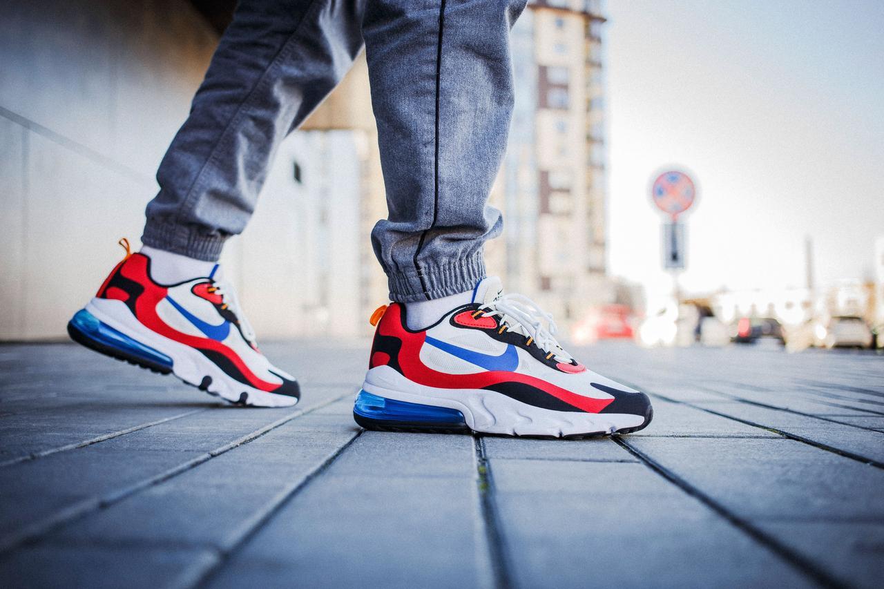Мужские кроссовки Nike Air Max 270 White Red Blue ( Реплика )