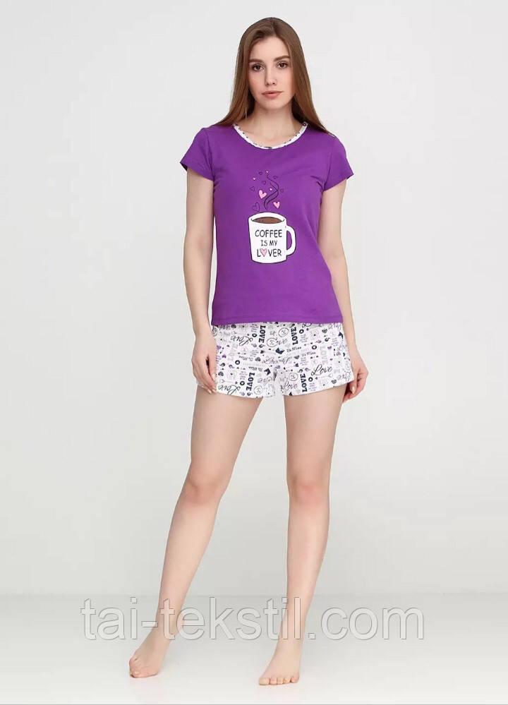 Пижама женская футболка и шорты хлопок 100% S-M-L-XL