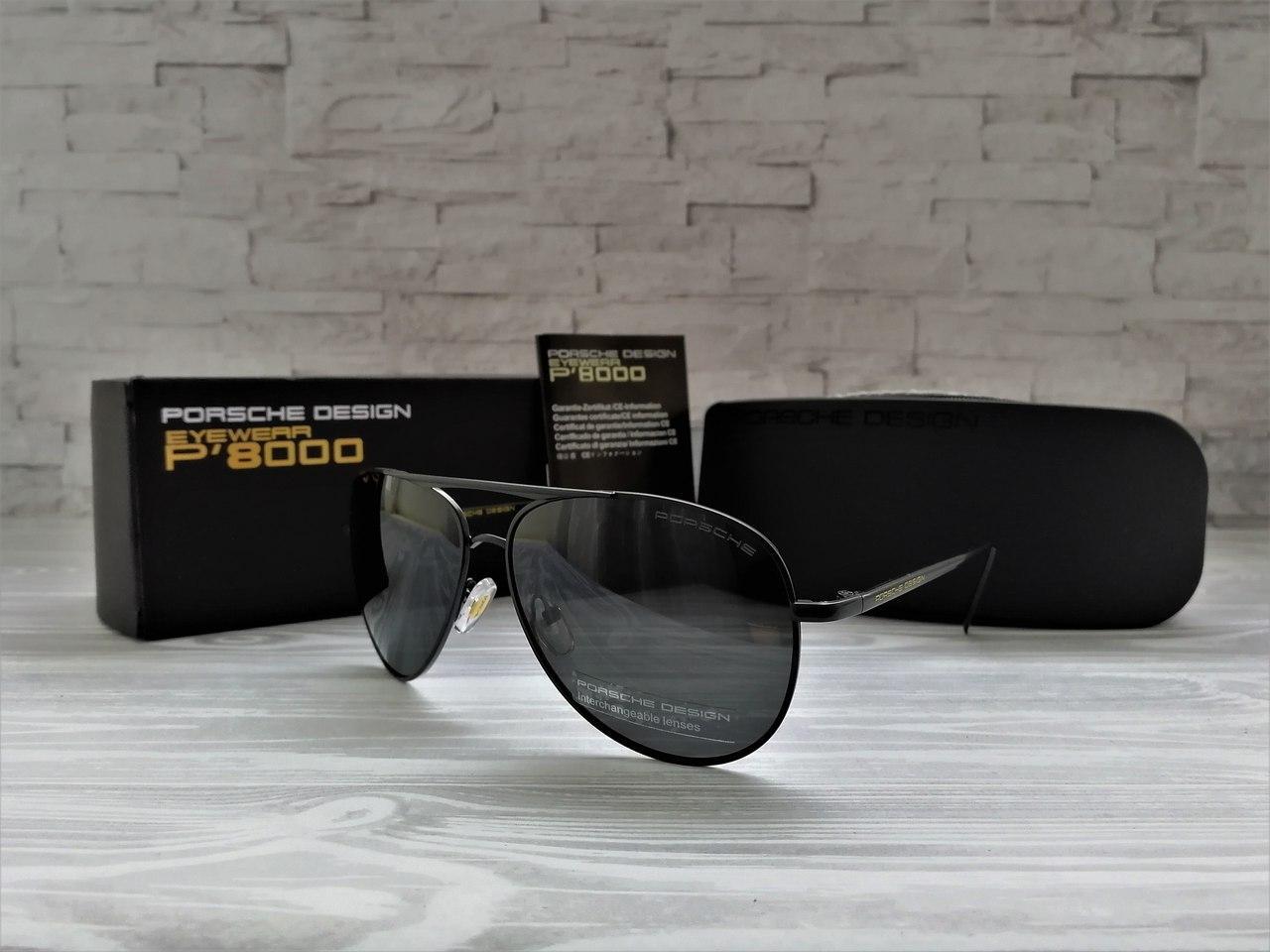 Мужские солнцезащитные очки Polaroid с поляризацией (черные)