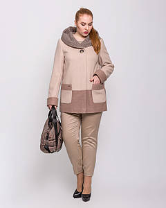 Пальто женское демисезонное полупальто с капюшоном 2177 | 50-60р.
