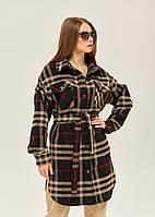 Модне жіноче пальто-сорочка в 2х кольорах ПВ-146кор