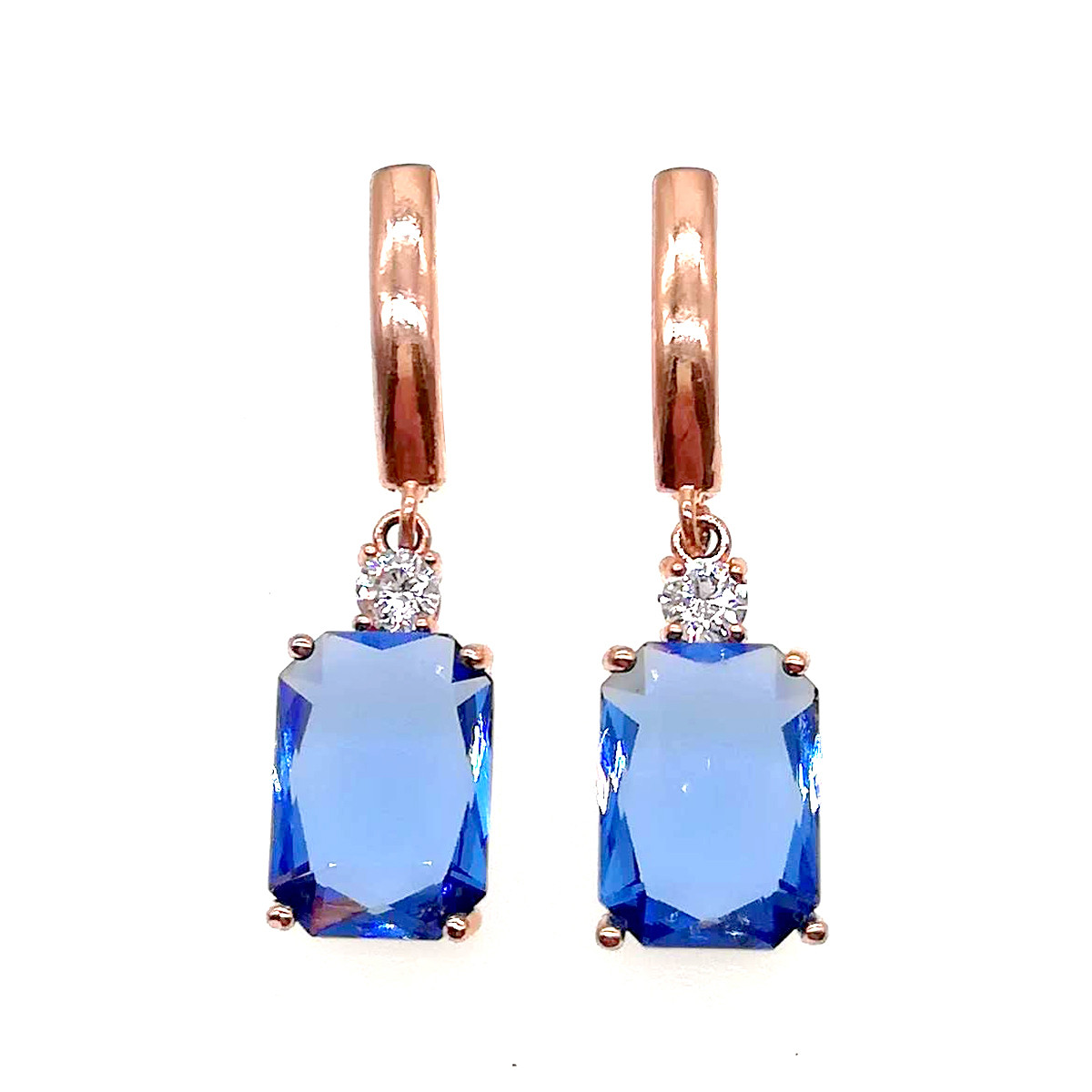 Серьги SONATA из медицинского золота, синими фианитами, позолота PO, 22968