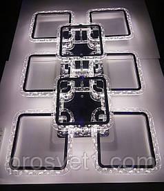 Люстра светодиодная квадраты, акриловая с пультом (2518/6+2L CR A.G. 120W RGB)