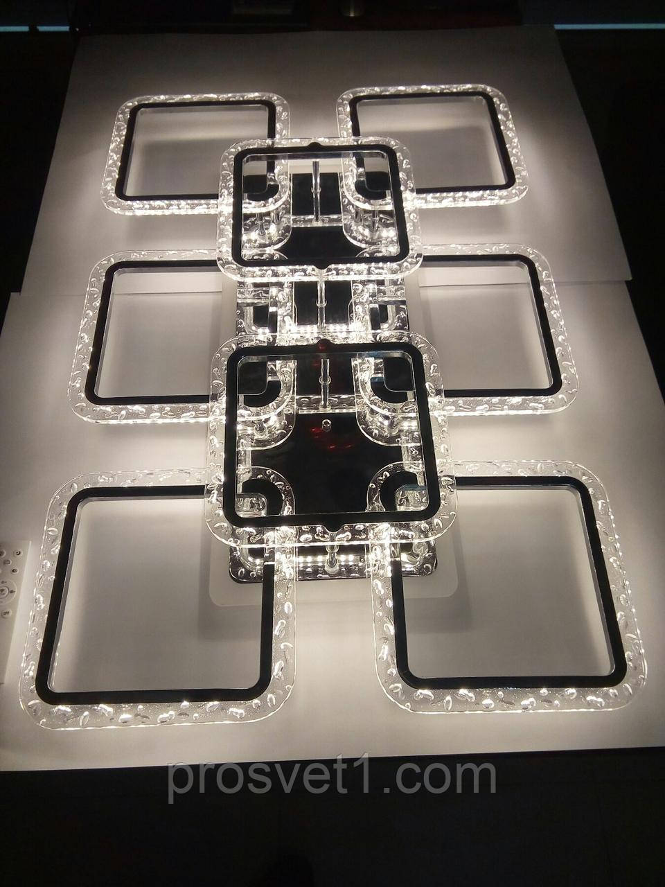 Люстра світлодіодна квадрати, акрилова з пультом (2518/6+2L CR A. G. 120W RGB)