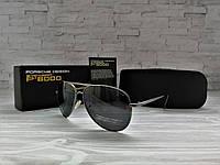Мужские солнцезащитные очки Polaroid с поляризацией (черные, стальные дужки)