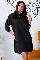 Большое платье-поло с воротничком черное