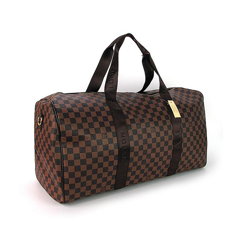 Коричнева жіноча дорожня сумка lv-366 bro спортивна на плече для речей