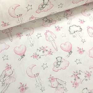 Хлопковая ткань польская розовые зайчики с мишками на облаках на белом