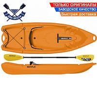 Корпусный каяк SF-2002 двухместный + весло, sit-on-top, HDPE-RM, желтый, 238 см