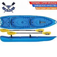 Корпусный каяк SF-4001 четырехместный + 2 весла, sit-on-top, HDPE-RM, синий, 340 см