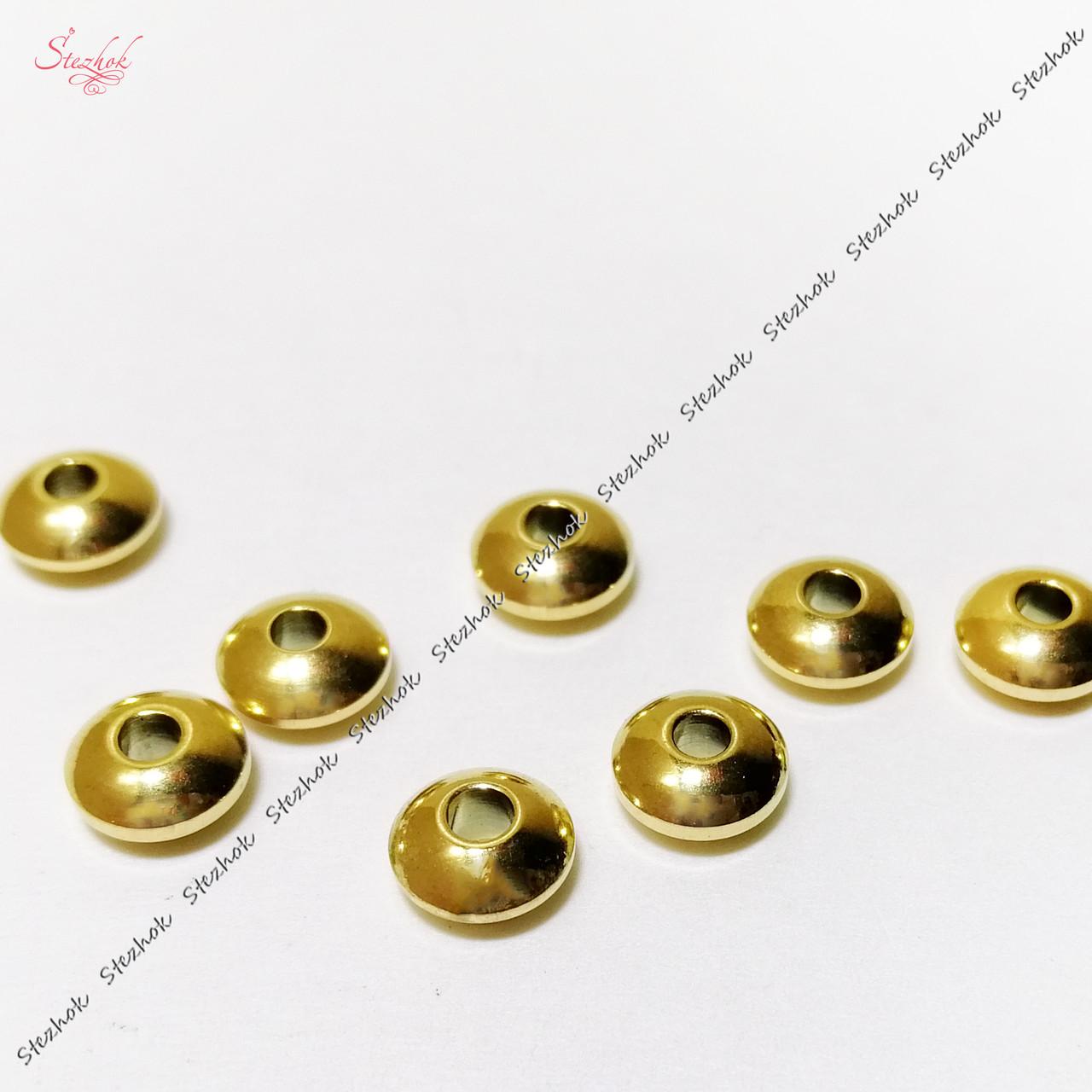 Металлическая бусина рондель гладкая 6х3 мм из нержавеющей стали для рукоделия цвет золото