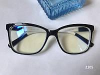 Женские компьютерные очки квадратные. Модель ЕАЕ 2105 черные / белые, фото 1