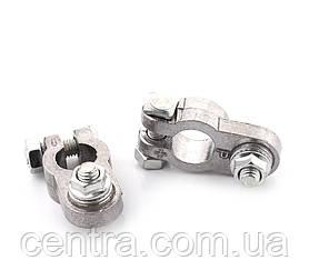 Клеммы аккумуляторные алюминиево-магниевый сплав, с прижимной планкой, 80гр, 2 шт.  DK-TM06