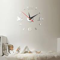 Часы настенные 3-d чашка кофе №3  серебро (зеркальные)