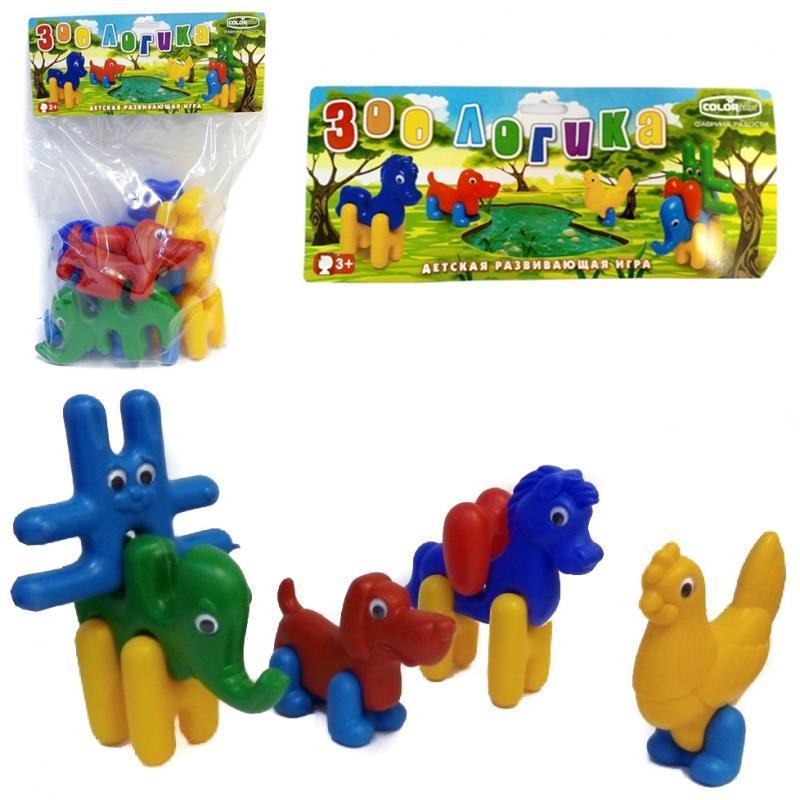 Детский набор : заец, конь, курица, пес, слон
