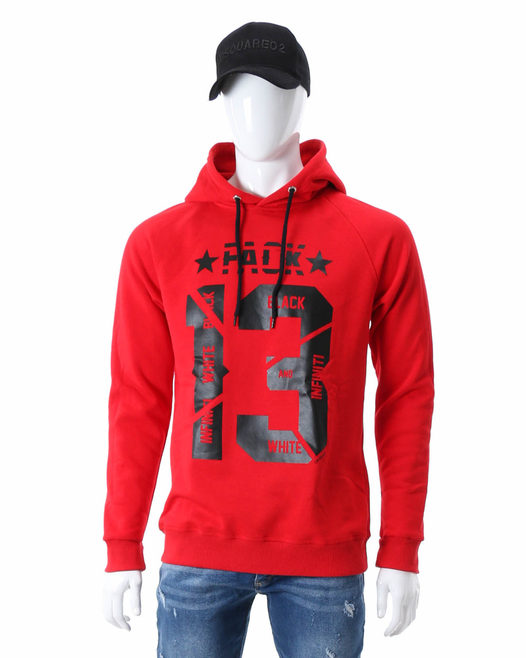"""Худи осень-зима красный HOPE с принтом """"FACK 13"""" Р-5 RED XL(Р) 20-591-003"""