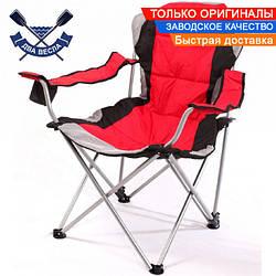 Усиленное складное кресло мягкое шезлонг до 140 кг раскладывается на 3 положения, сиденье 59х63см, чехол