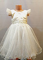 Бежевое с блеском детское бальное платье на 3, 4, 5 лет, фото 1