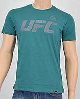 Мужская футболка UFC Reebok(реплика) т.бирюза+серый