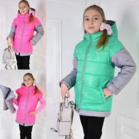 Куртка-жилетка демисезонная для девочки Алиса 122, 128, 134, 140, фото 1