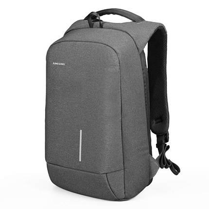 Рюкзак городской Kingsons KS3149W Grey спортивный для походов путешествий ноутбука с зарядкой USB, фото 2