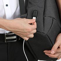 Рюкзак городской Kingsons KS3149W Grey спортивный для походов путешествий ноутбука с зарядкой USB, фото 3
