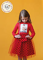 Платье с аппликацией, юбка горохи сверху евро-сетка с сумочкой