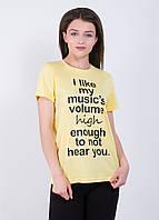 Футболка женская с надписью 9222  Желтый