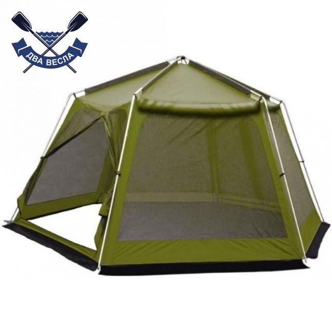 Кемпинговый тент-шатер Mosquito Green 3.5x4.7x2.25 м, 2 входа, 9,5 кг, без дна, есть юбка, 6-ти-гранный
