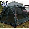 Кемпинговый тент-шатер Mosquito Green 3.5x4.7x2.25 м, 2 входа, 9,5 кг, без дна, есть юбка, 6-ти-гранный, фото 7