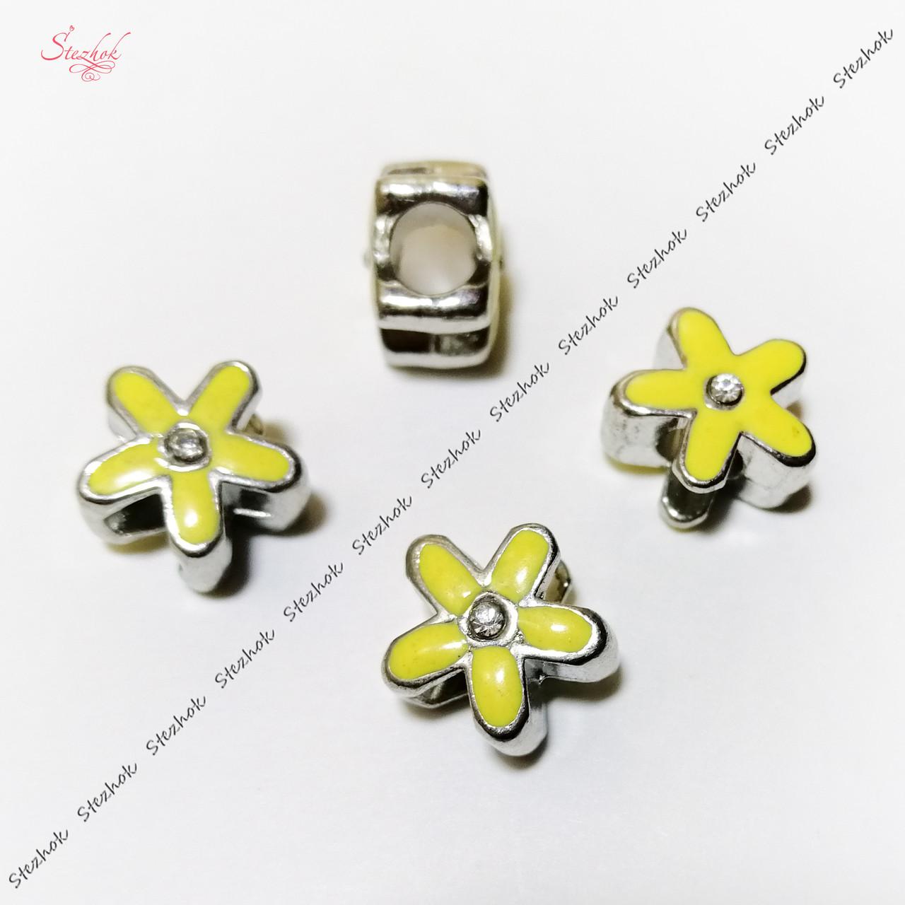 Металлическая бусина с эмалью 12мм желтый цветок платина для рукоделия