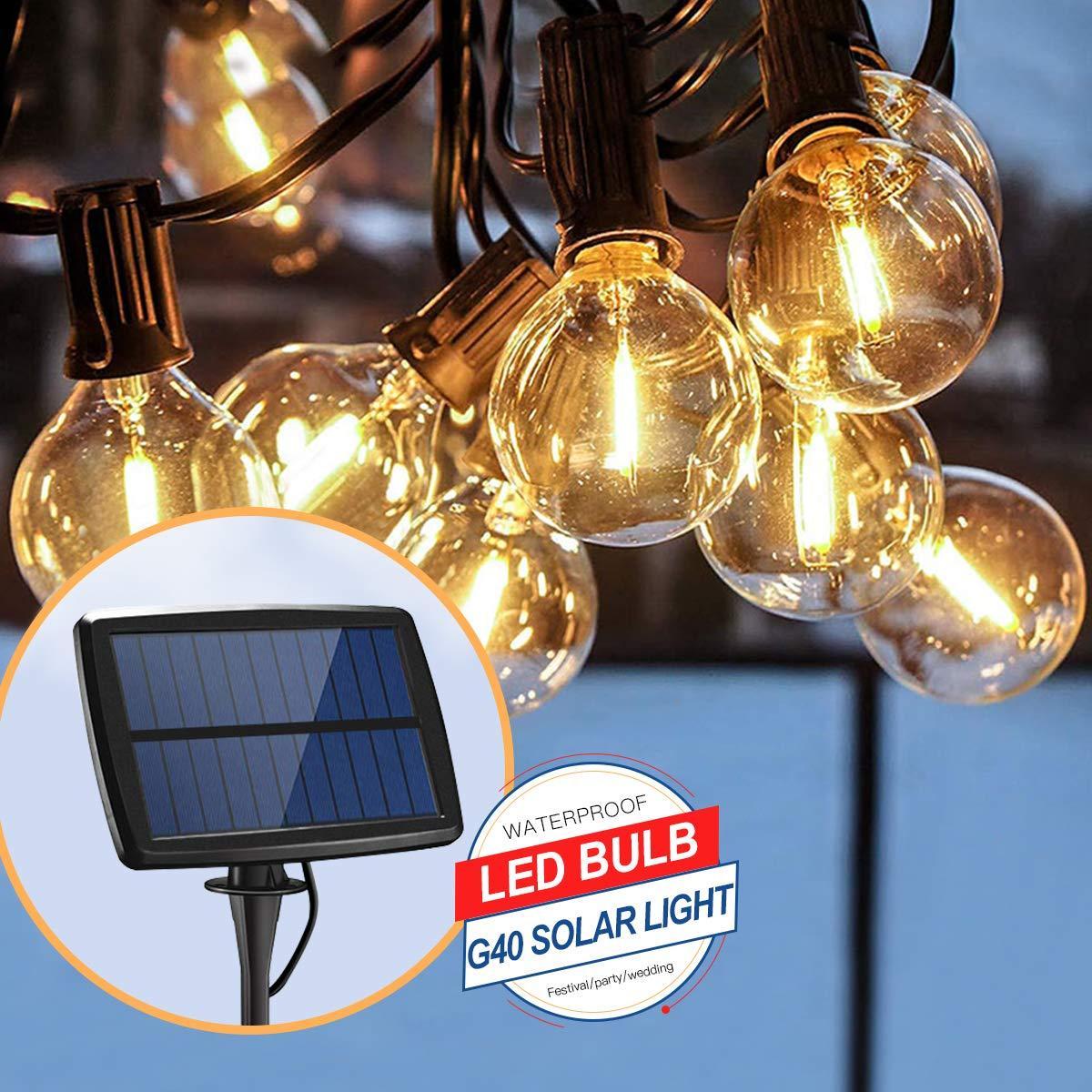 Светодиодный винтажный светильник-гирлянда  G40 на солнечной батарее 25 ламп