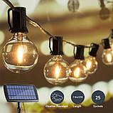 Світлодіодний вінтажний світильник-гірлянда G40 на сонячній батареї 25 ламп, фото 6