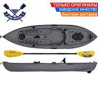 Корпусный каяк для рыбалки SF-1007 одноместный + весло, sit-on-top, HDPE-RM, серый, 305 см