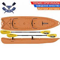 Корпусный каяк SF-4001 четырехместный + 2 весла, sit-on-top, HDPE-RM, оранжевый, 340 см