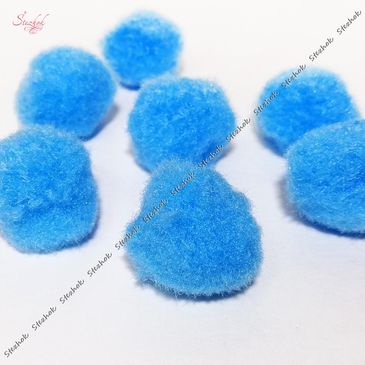 Пом-пон 25 мм искусственная шерсть для рукоделия цвет голубой