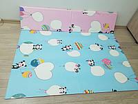 Развивающий детский игровой коврик трансформер Панды (складной мягкий напольный двухсторонний) 2*1,8 м, 10 мм