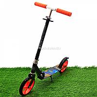 Самокат двухколёсный Best Scooter черно-оранжевый, колеса PU - 200 мм (42714)