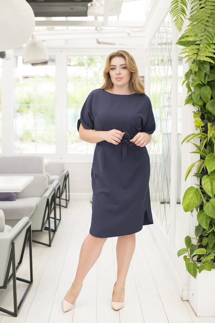 Стильное платье большие размеры короткий рукав.