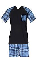 Пижама мужская трикотажная, футболка и шорты 20014 Tom коттон Темно-синий с голубым