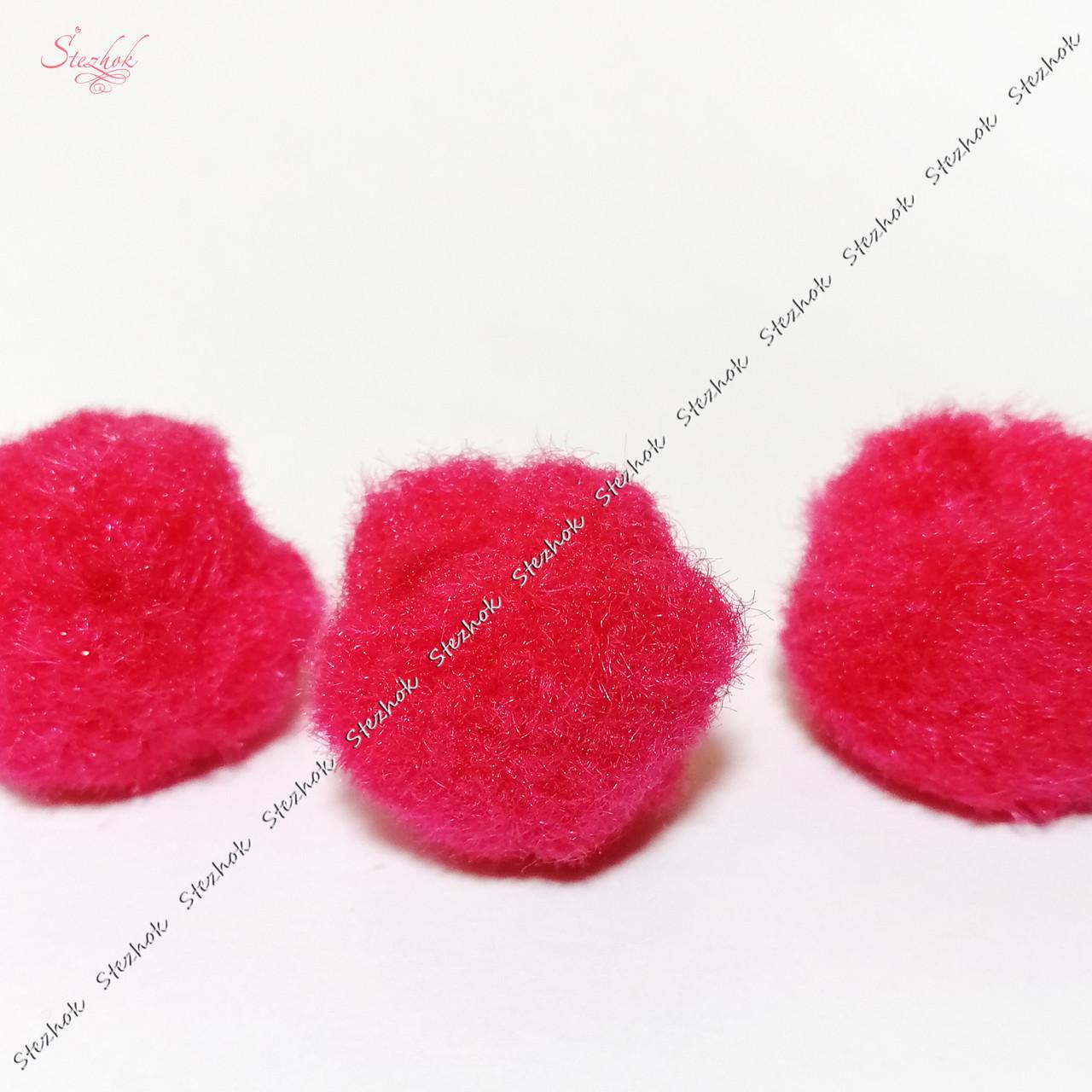 Пом-пон 25 мм искусственная шерсть для рукоделия цвет малиновый