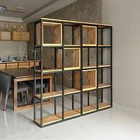 Стеллаж витрина шкаф SQUARE стенка в стиле Лофт