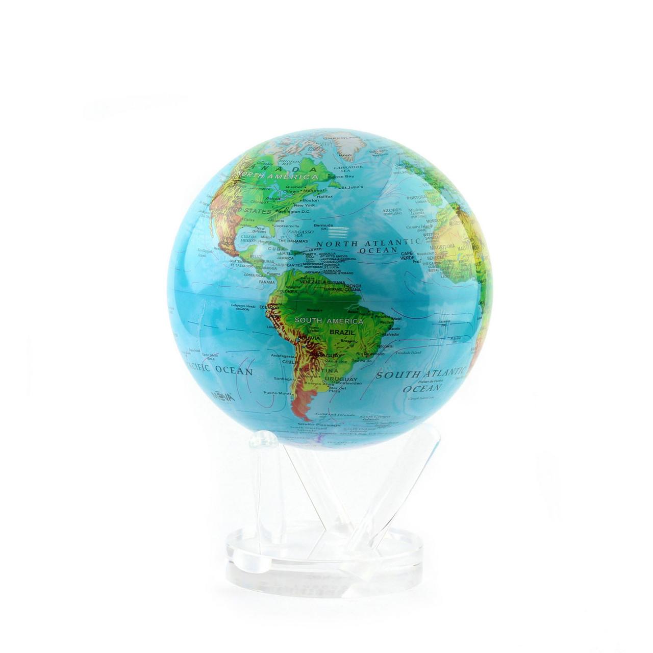 Гиро-глобус Solar Globe «Физическая карта мира» Ø15,3 см (вращается от любого источника света)