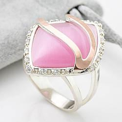 Кольцо серебряное женское с золотом Чудо вставка розовый улексит размер 18