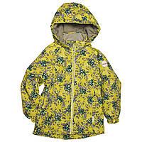 Демисезонная термокуртка для девочки 104-110 рост желтая с принтом