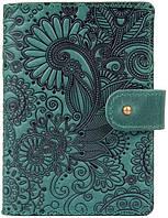 Кожаное портмоне для паспорта ID HiArt PB-02/1 Shabby Alga Mehendi Art (PB-02/1-S19-5920-T005)